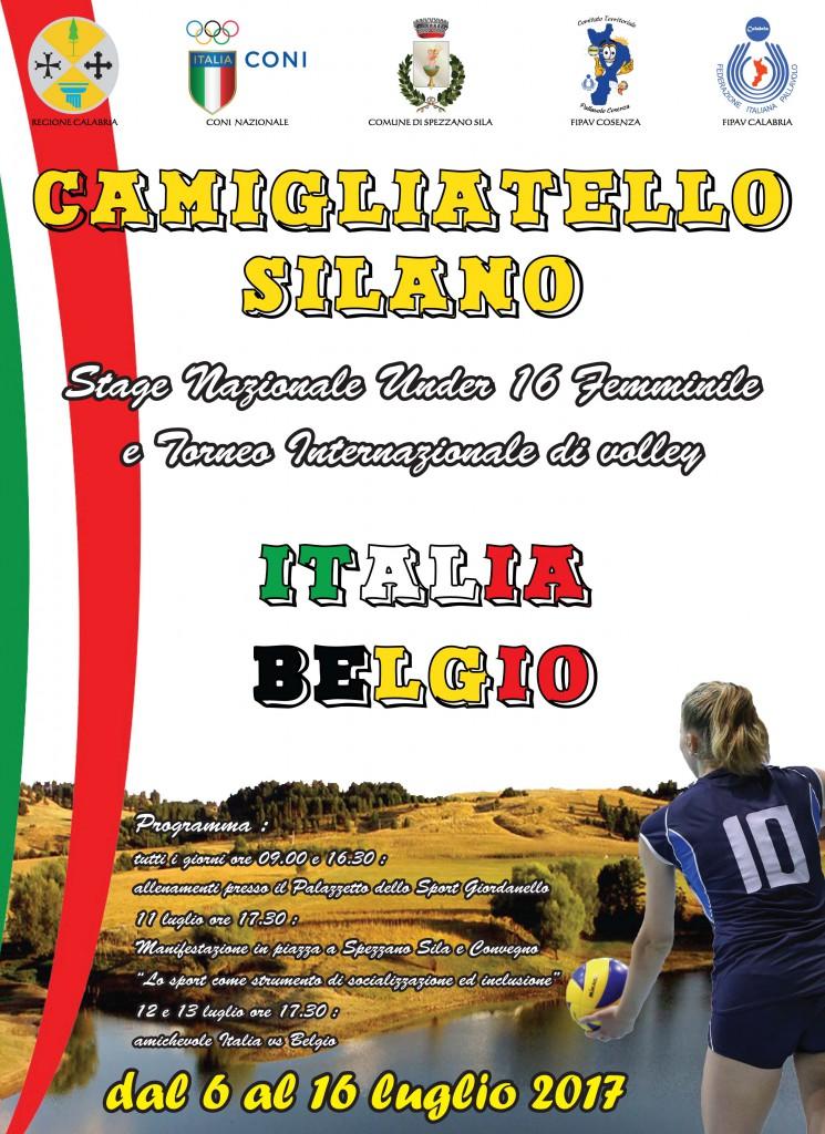 locandina stage U16F ITALIA e BELGIO con programma per sito